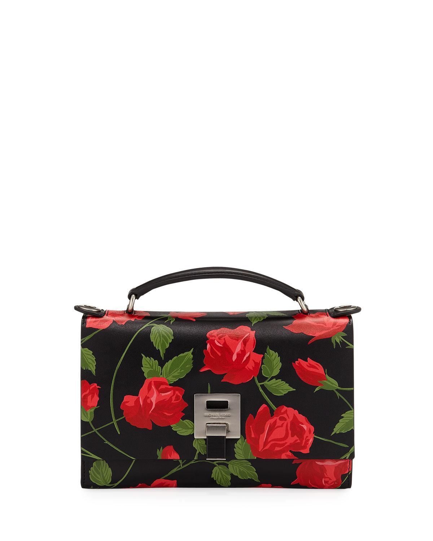 Michael Kors Stemmed Roses Leather Shoulder Bag In Red