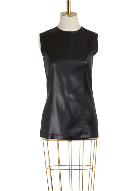 Givenchy Crewneck Sleeveless Fitted Stretch-Satin Top In Black