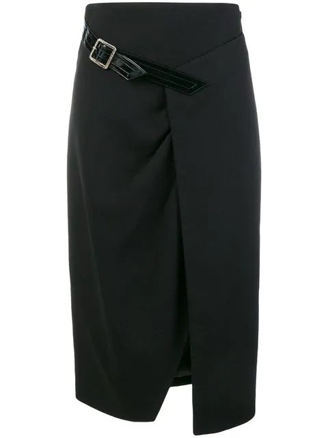 Givenchy A-line Fitted Wool Crepe Midi Skirt W/ Buckle Detail In Black