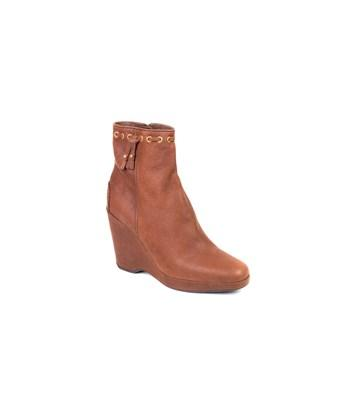Car Shoe By Prada Brown Leather Wedge Ankle Boots