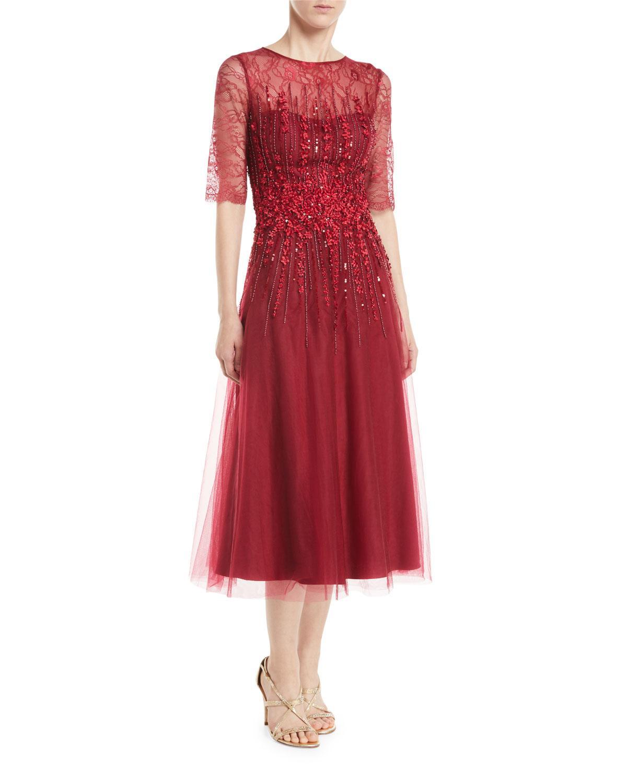 45db56c62e2 Rickie Freeman For Teri Jon Tulle A-Line Dress W  Beading In Dark ...