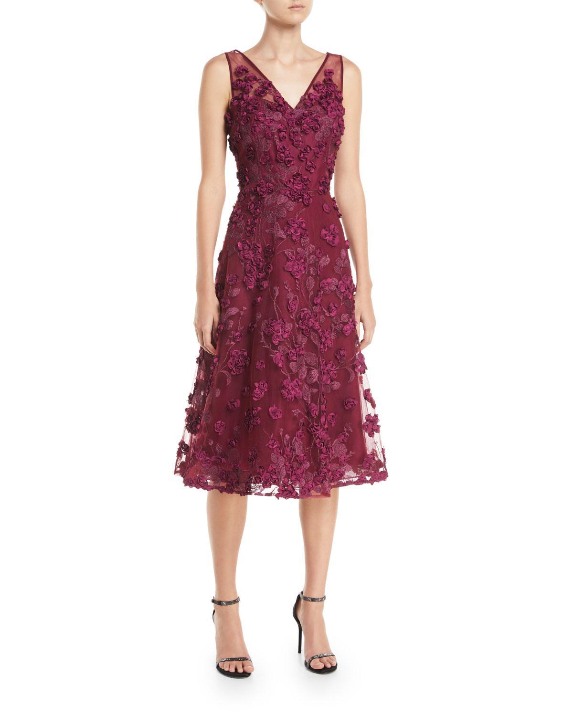 21d78faa6c Rickie Freeman For Teri Jon Tulle Tea-Length Dress W/ Floral Appliques In  Dark