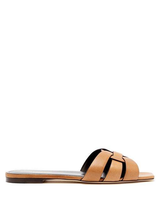 f1ebfaf4f67c Saint Laurent Nu Pieds 05 Tribute Sandals In Saffron Painted Leather In Tan  Brown