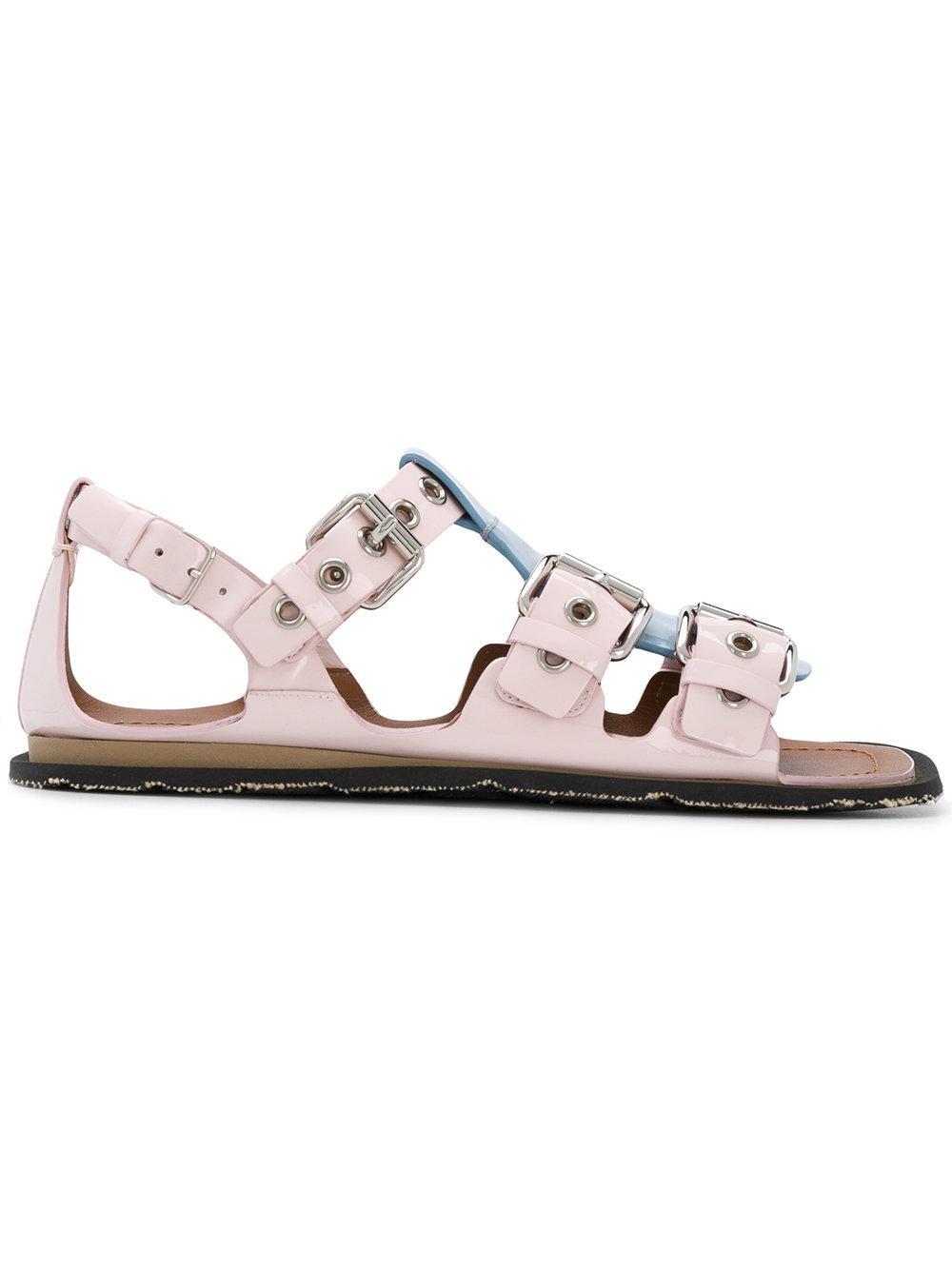 0286debe413f70 Miu Miu Pink Colorblocked Buckle Sandals