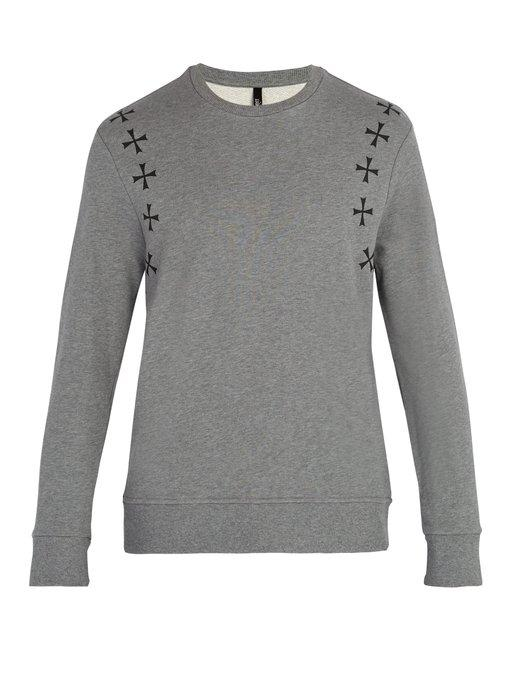 Neil Barrett Military Star-Print Crew-Neck Cotton Sweatshirt In Grey