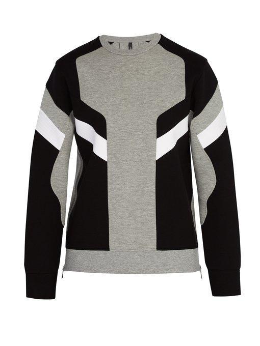 Neil Barrett Panelled Crew Neck Sweatshirt In Grey