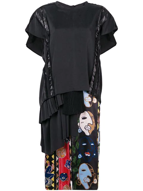 Carven Silk Abstract Print Asymmetric Dress In Black