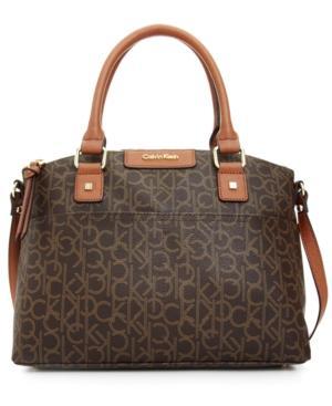 Calvin Klein Hudson Dome Signature Satchel In Brown/khaki/luggage Saffiano