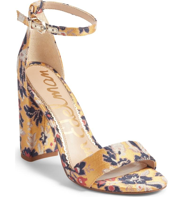 110d03f2d8dc Sam Edelman Women S Yaro Gatsby Floral Jacquard Block Heel Sandals In  Yellow Multi Jacquard Fabric