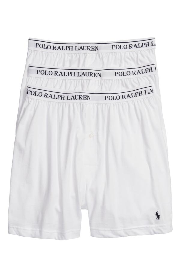 6163c04dd82a Polo Ralph Lauren Men's Underwear, Classic Knit Boxer 3 Pack In White