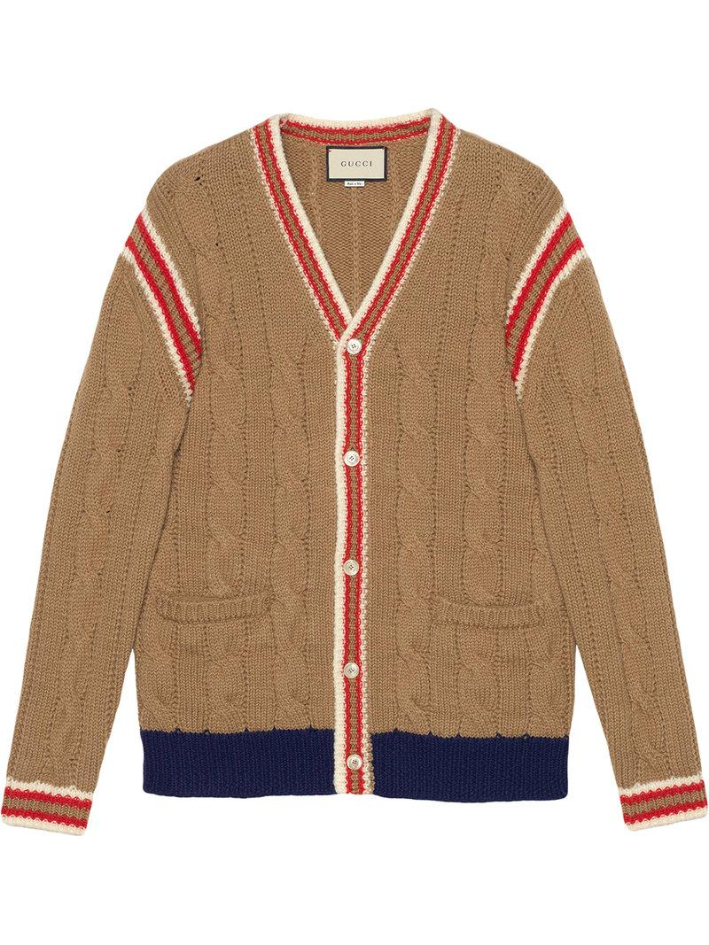 edf0f3839f8 Gucci Cable Knit Wool Cardigan In Brown | ModeSens