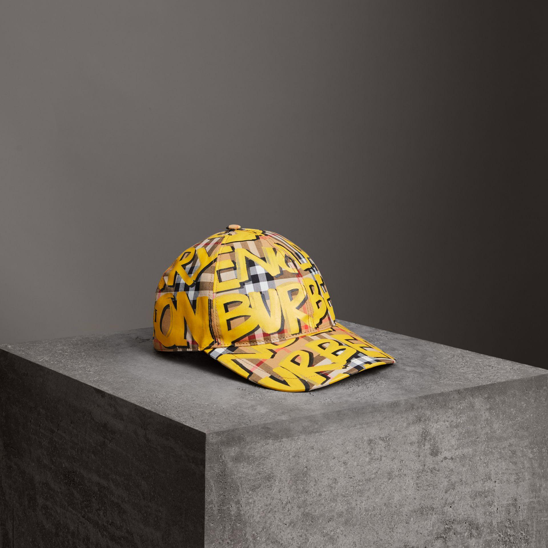 5750e74222806 Burberry Graffiti-Print Vintage Check Baseball Cap In Yellow