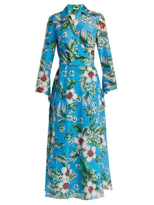 Diane Von Furstenberg Floral Cotton And Silk Dress In Blue