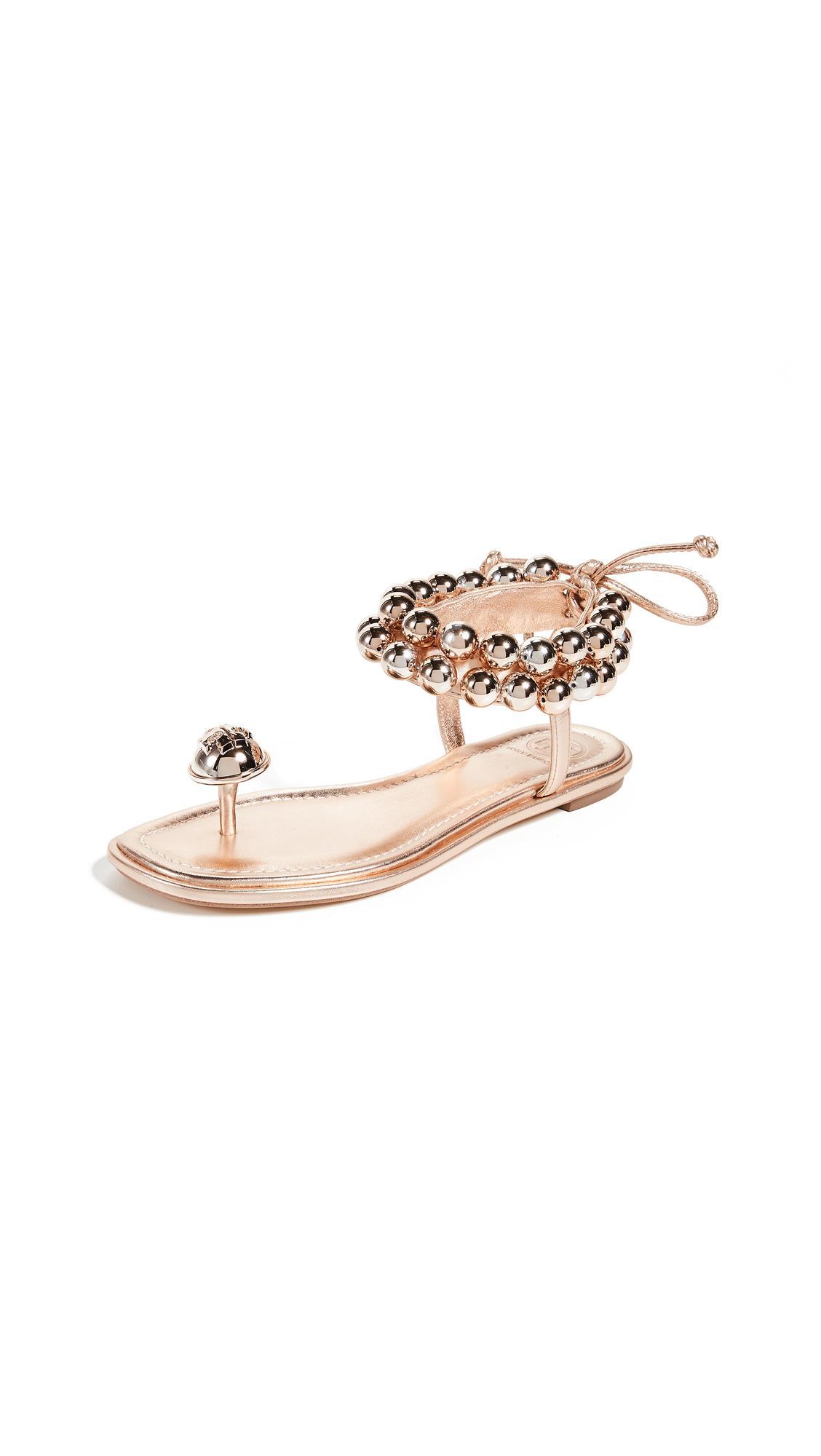 28c35da510b7a Tory Burch Melody Ankle Strap Sandals In Rose Gold