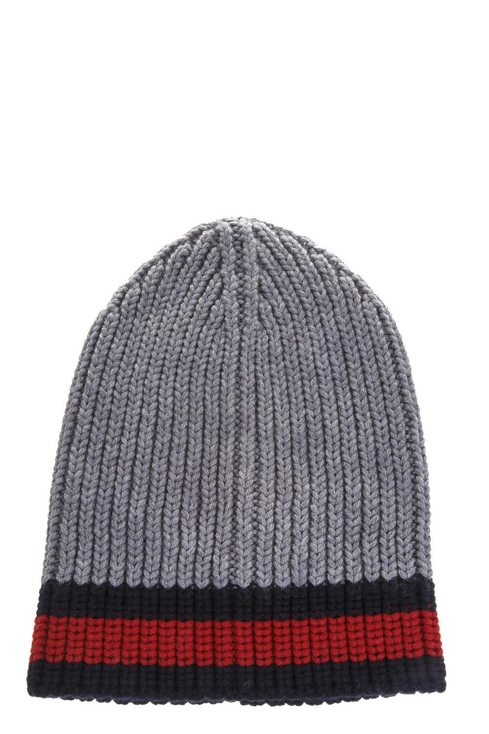 e8ad66efa95 Gucci Web Wool Cable Knit Beanie Hat In Anthracite