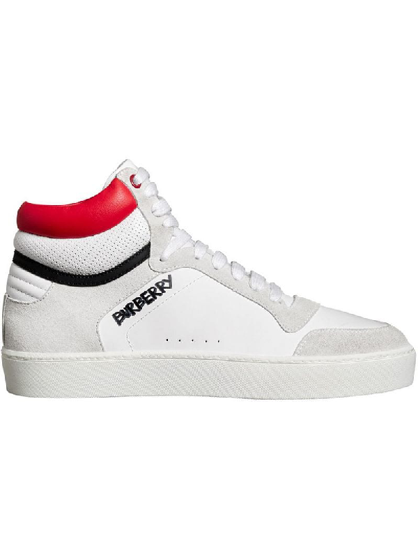 4fa5e7f6276 Burberry Leather And Suede High-Top Sneakers In White