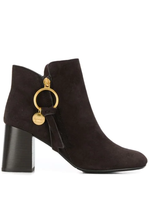 See By ChloÉ Louise Block-Heel Suede Ankle Boots In B024 Grafite Brown