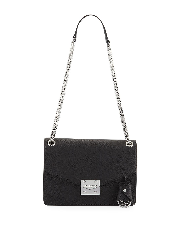 Karl Lagerfeld Corrine Saffiano Leather Shoulder Bag In Black/Silver