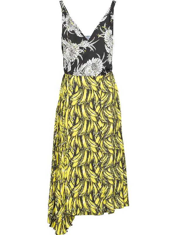 588fc38acc Prada Banana & Flower-Print Sleeveless Dress In Yellow & Orange ...
