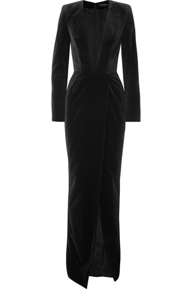 b2b8a564e7 Alexandre Vauthier Plunging Long-Sleeve Velvet Wrap Evening Gown In Black