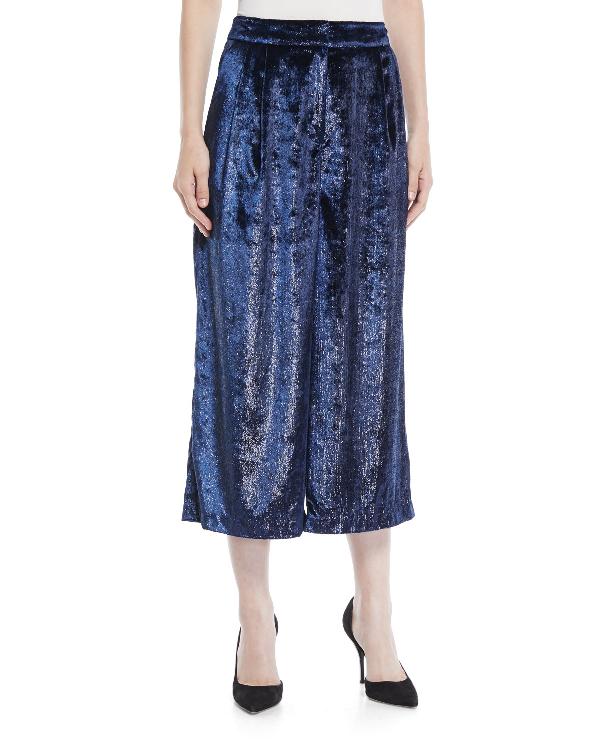 Tibi Stella Cropped Metallic Velvet Wide-leg Pants In Blue