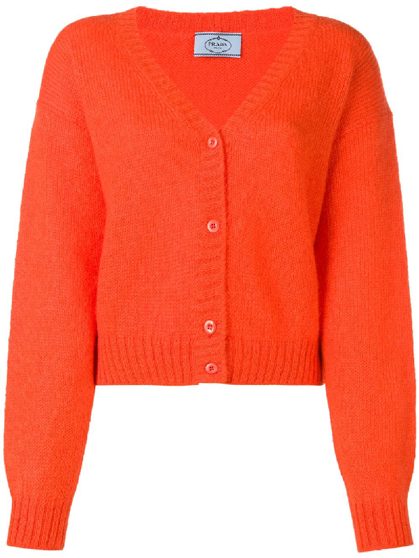 Prada V-Neck Button-Front Oversized Wool-Mohair Cardigan Sweater In Orange