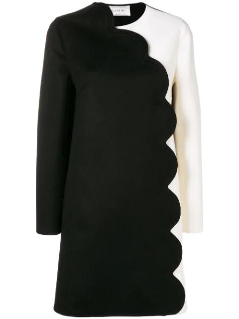 Valentino Colorblock Felt Coat W/ Scalloped Edge In Black
