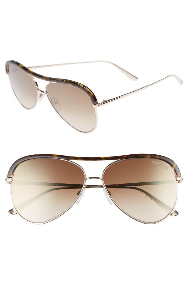b63d7482101b Tom Ford Sabine 60Mm Aviator Sunglasses - Shiny Rose Gold  Brown Mirror