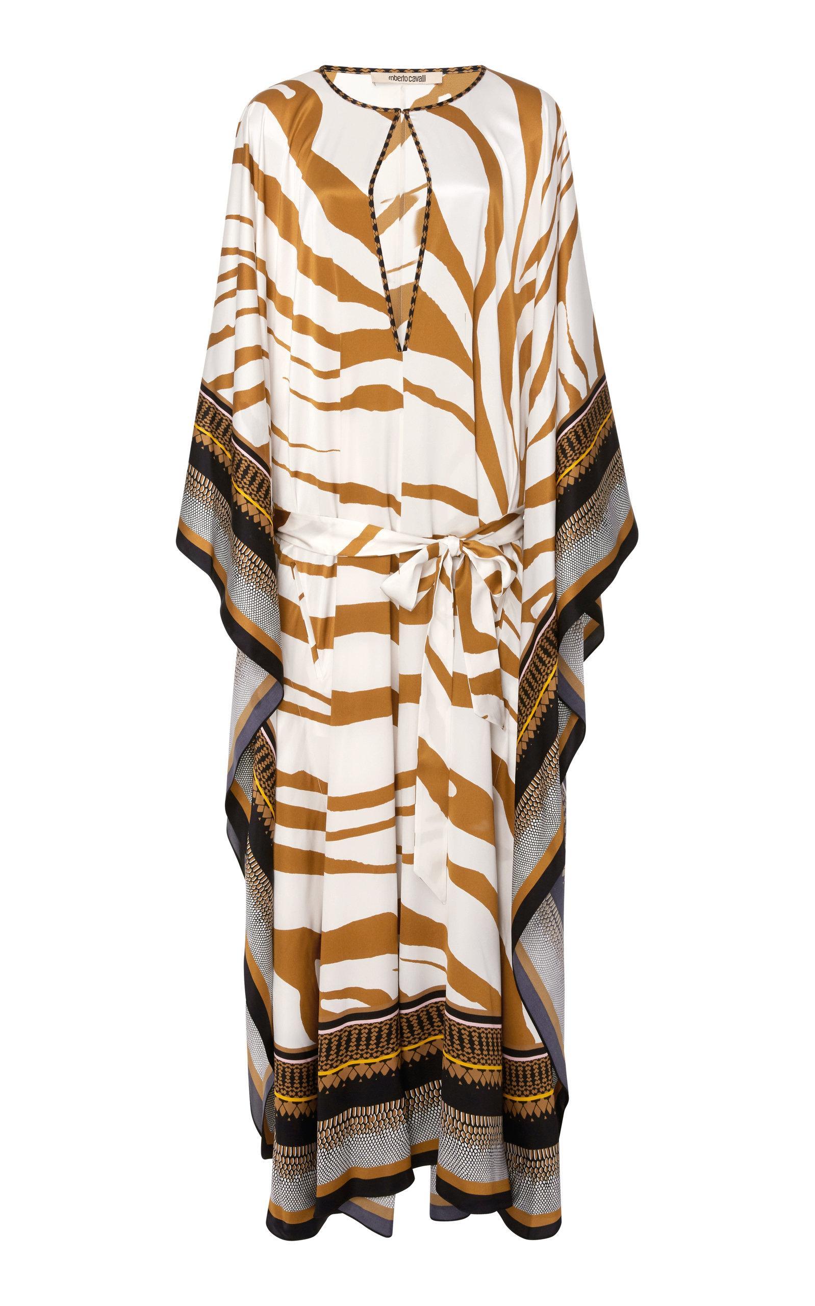 bc8fedb364720 Roberto Cavalli Cutout Printed Silk-Satin Kaftan | ModeSens