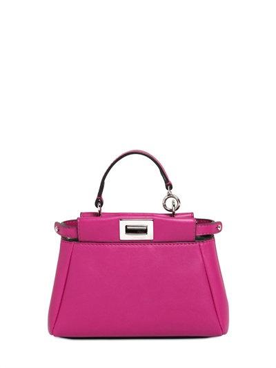 Fendi 'Micro Peekaboo' Nappa Leather Bag - Burgundy In Magenta +Palladium