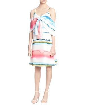 c0d1d6f1b9 CATHERINE CATHERINE MALANDRINO. Eden Watercolor Print Cold-Shoulder Dress  ...