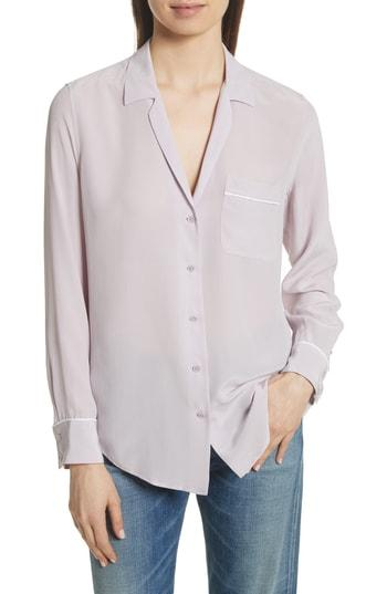 6ceae0414ea0d6 Equipment Keira Piped Silk Shirt In Violet Ice | ModeSens