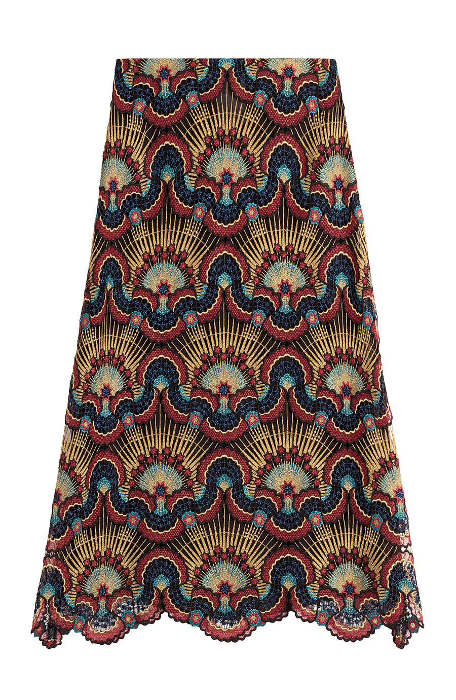 Valentino Enchanted Wonderland MacramÉ-lace Midi Skirt In Multicolored
