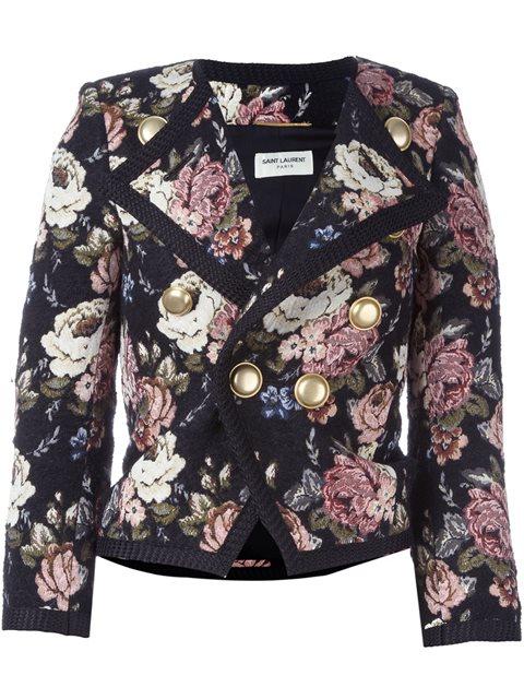 Saint Laurent Wool-blend Jacquard Cropped Jacket In Multicoloured