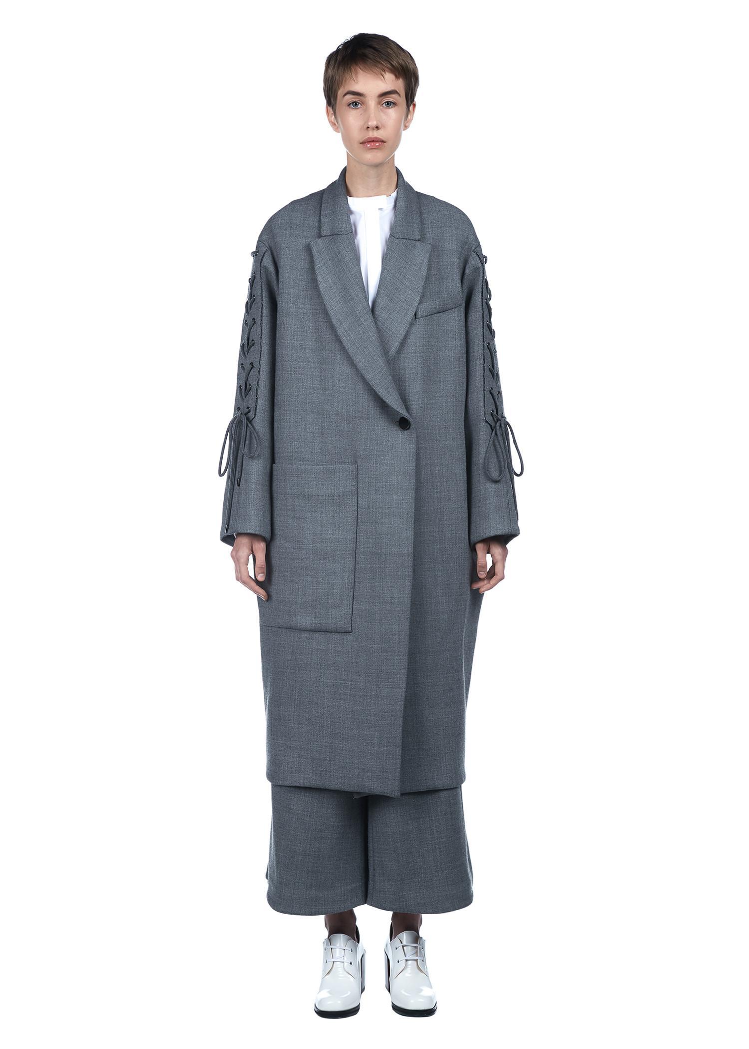 Ellery 'duchess' Corset Back Wool Blend Pod Coat In Grey