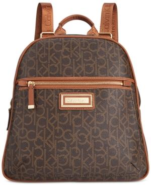 Calvin Klein Dorothy Small Signature Backpack In Brown/khaki/luggage