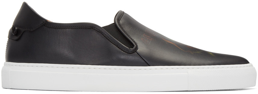 Givenchy 'street Skate Iii' Army Skull Print Leather Slip-ons In Black