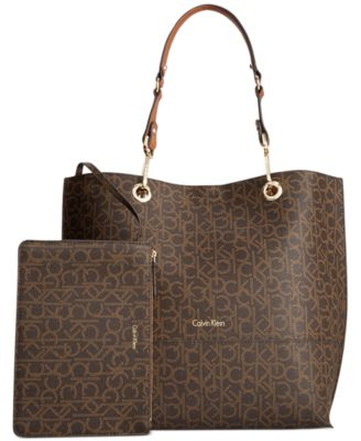Calvin Klein Signature Reversible Tote With Pouch In Brown/khaki/luggage