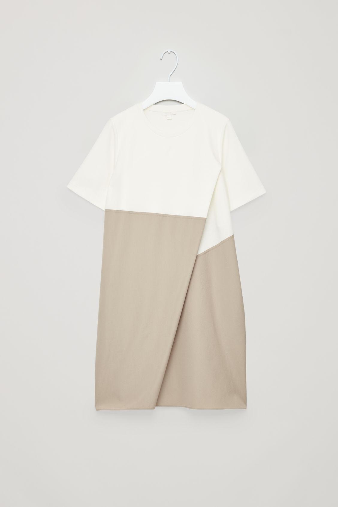 f63e11ba420d Cos Poplin-Panelled Jersey Dress In White | ModeSens