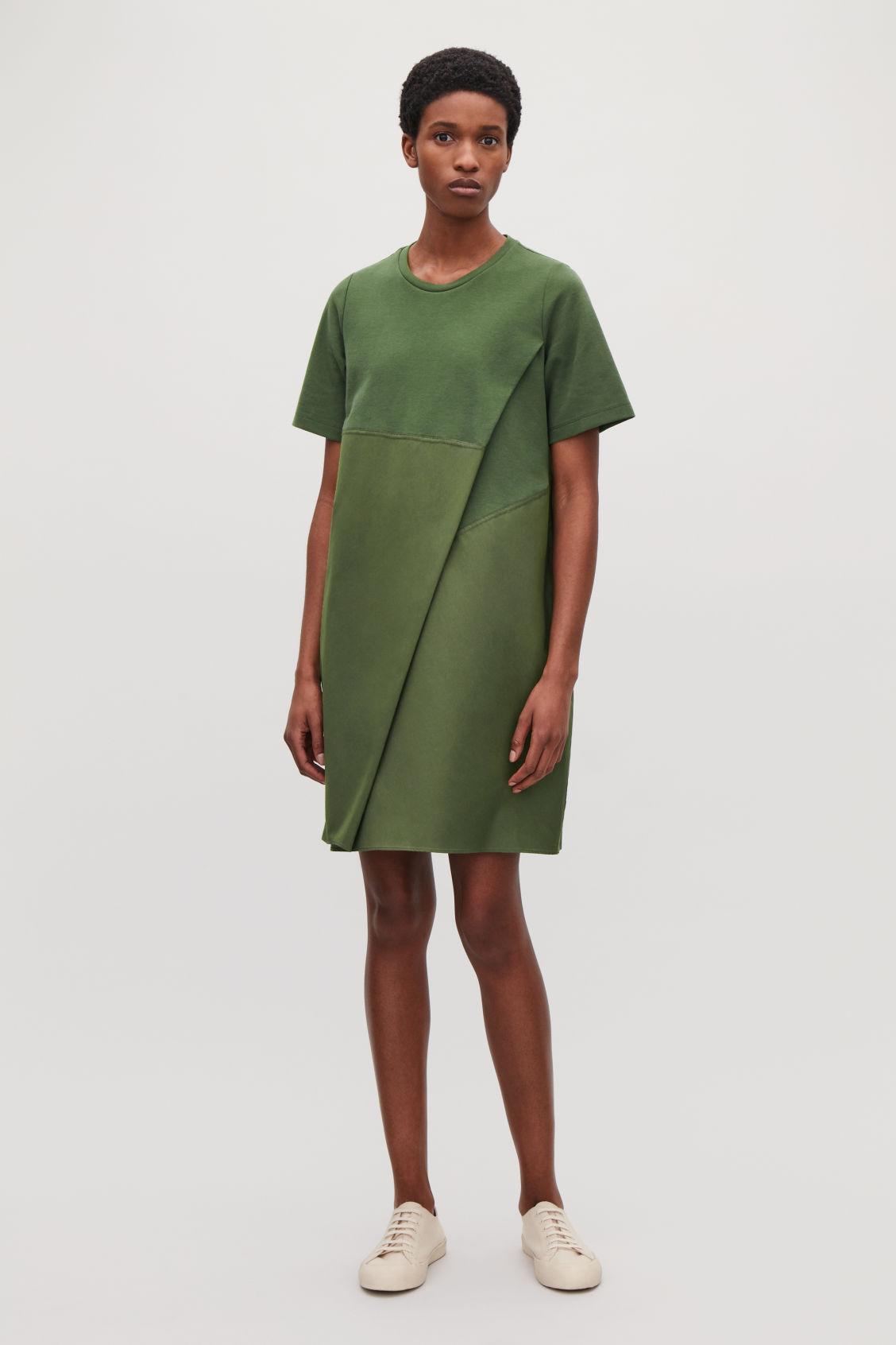 f7bd8d32884d Cos Poplin-Panelled Jersey Dress In Green | ModeSens