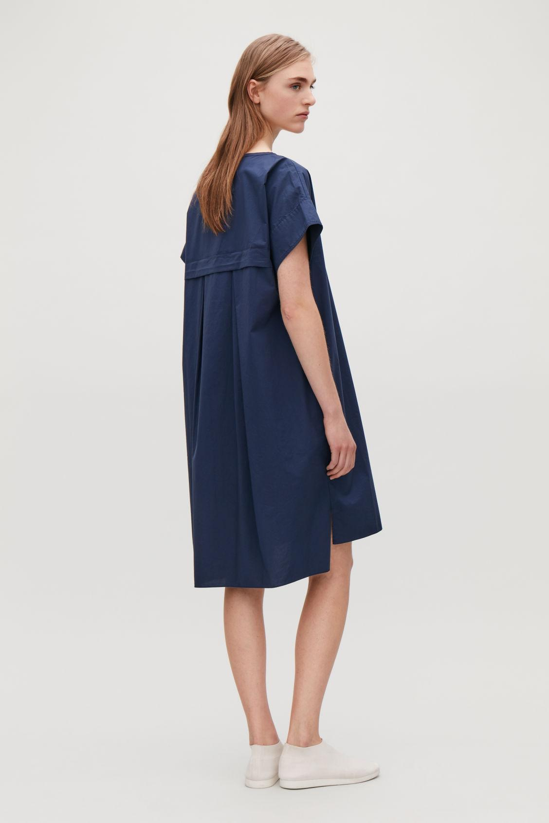 cb1a36cce443b Cos Trapeze Dress With Back Drape In Blue | ModeSens