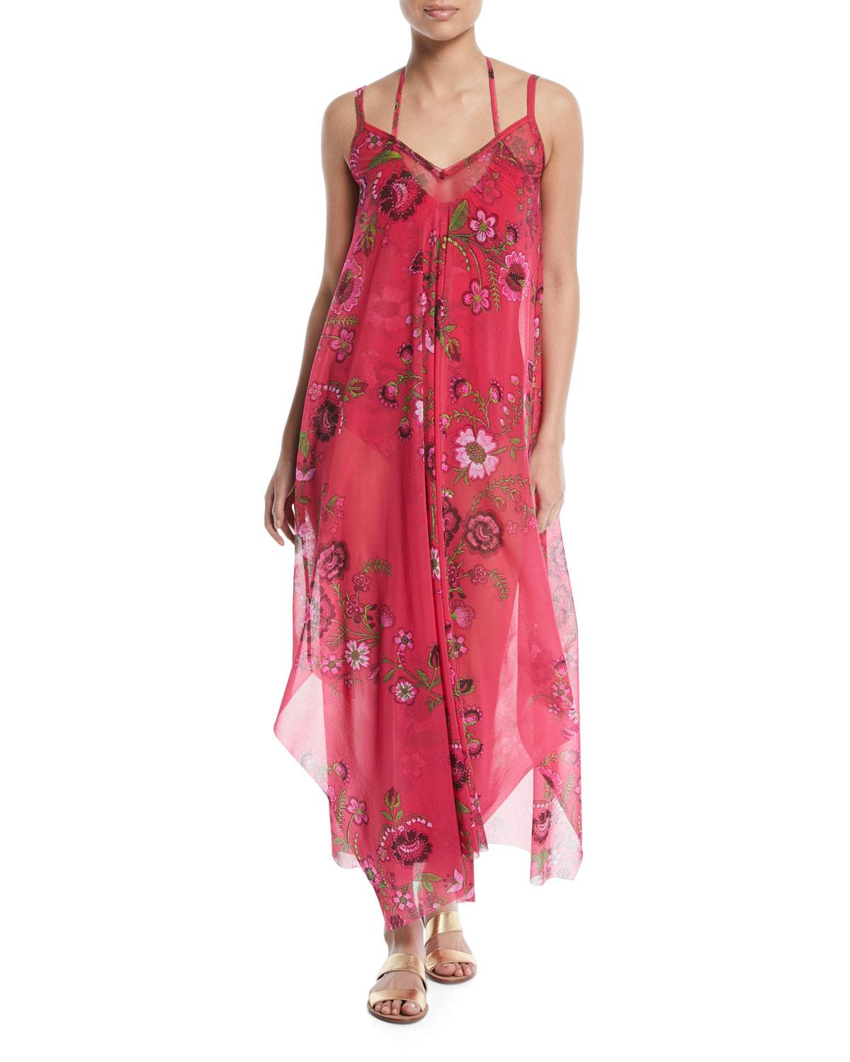 Fuzzi Floral-Print Maxi-Length Coverup Dress In Pink