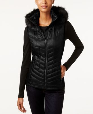 d03e8ff118ee2 Michael Kors Michael Faux-Fur-Trim Hooded Down Puffer Vest In Black ...