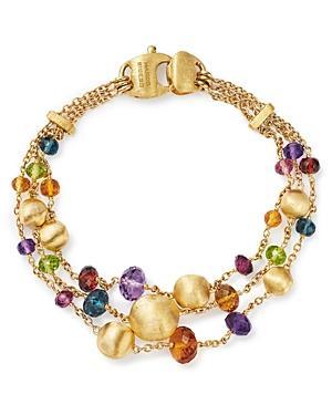 Marco Bicego 18K Yellow Gold Africa Color Multi Gemstone Triple Strand Bracelet
