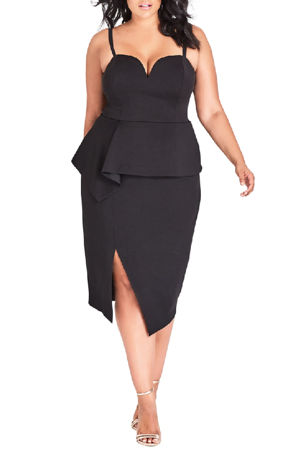 Trendy Plus Size Strapless Peplum Dress in Black