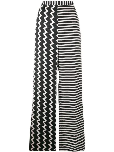 Stella Mccartney Wide-Leg Printed Silk Trousers In 1000