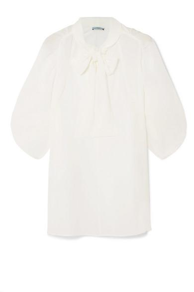 Prada Pussy-Bow Silk Crepe De Chine Blouse In Ivory