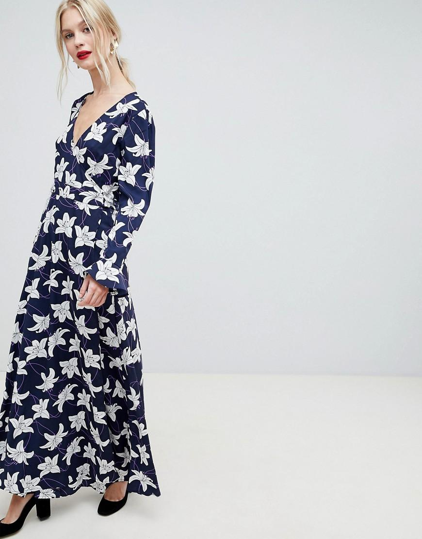 20d48c195ab Floral Print Wrap Maxi Dress - Navy