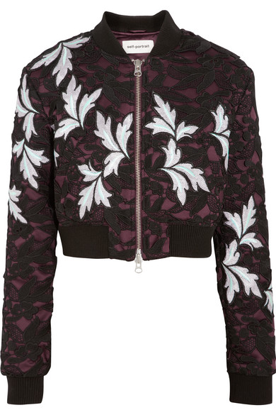 Self-portrait Cropped Guipure Lace And Satin Bomber Jacket In Black