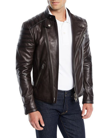 73d0465dd1bd Tom Ford Men s Icon Leather Biker Jacket In Burgundy